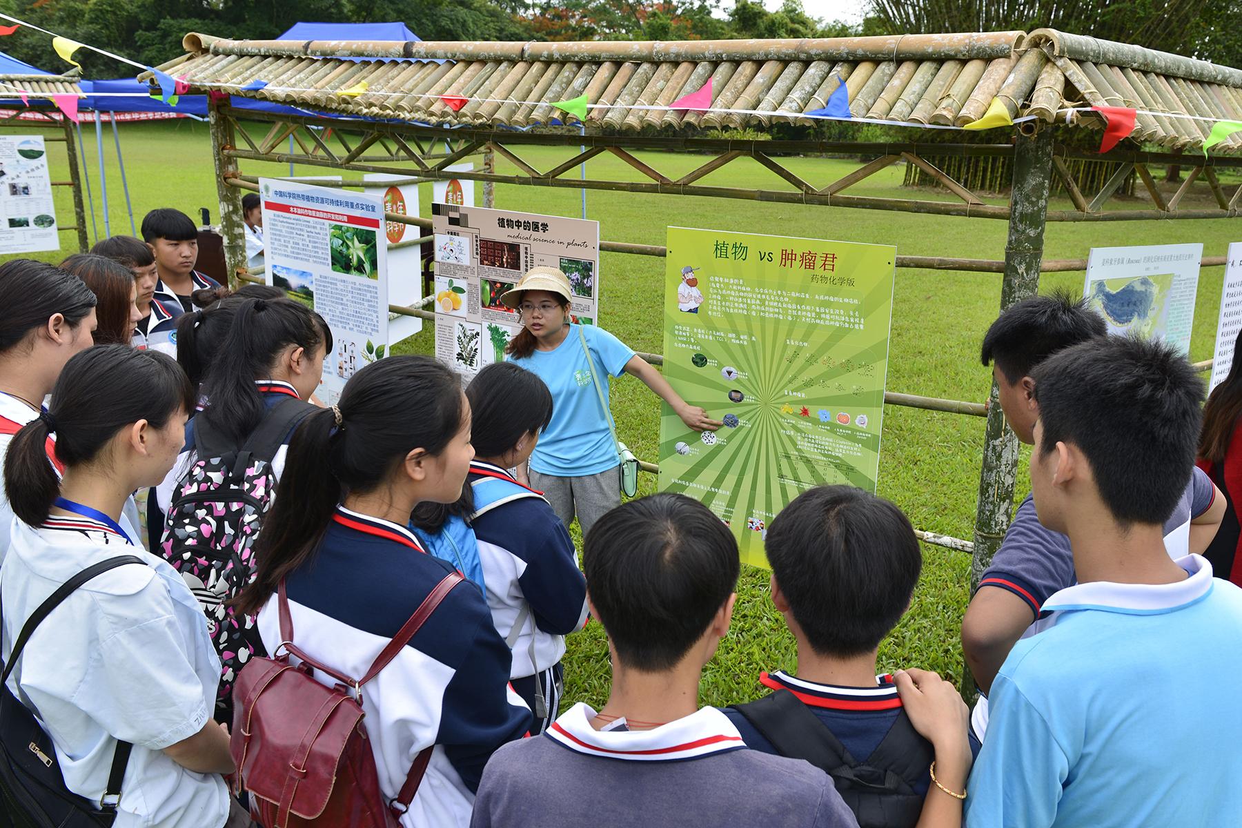 学生听研究生介绍植物药用价值